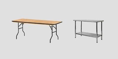 Tables traiteur bois et acier inoxydable